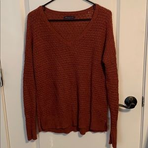 Dark orange v-neck sweater